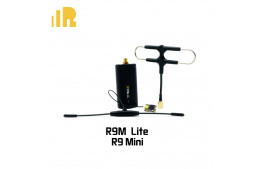 FrSky 900MHz R9M Lite module with mounted Super 8 antenna and R9 Mini long range receiver