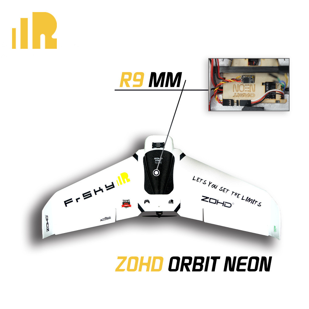 And last, but certainly not least, we have the ZOHD Orbit NEON LED FPV flying wing with 900MHz R9 MM Long Range Mini Receiver, the world's first SNAP-N-FLY portable FPV Wing with built-in LED for night flying. This RC plane comes with soldering-free built-in LEDs on the wings and nose, that is easy to plug and unplug like the detachable wings themselves, making it very convenient to carry.